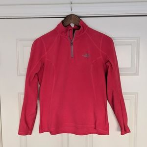 North Face Red Pink Pullover Sweater with 1/4 Zip